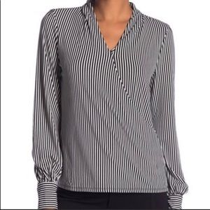 Adrianna Papell Striped Long Sleeve Top Small